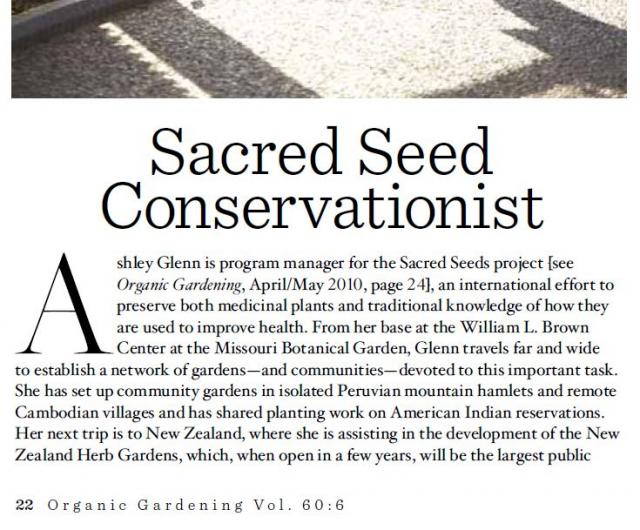 Organic Gardening Magazine features Sacred Seeds program manager Ashley Glenn