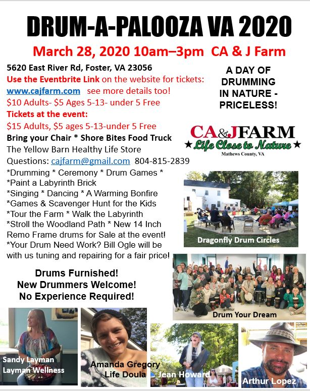 CA & J Farm Drum Circle's and Herbalist Courses in Foster, VA