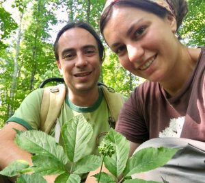 Authors Anna Plattner and Justin Wexler with a four-prong wild ginseng plant.