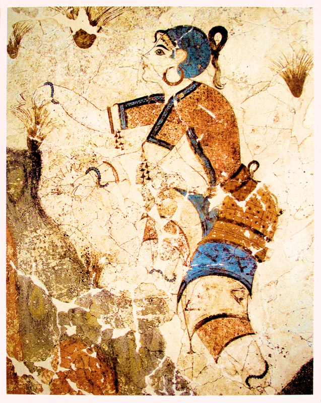 Woman-in-Ancient-Greece-collecting-herbs-from-the-mountainside-Minoan-Santorini